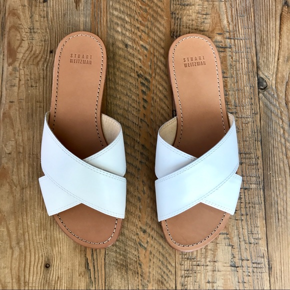 a24c1bc7 Stuart Weitzman Shoes | Byway Leather Slides In White | Poshmark